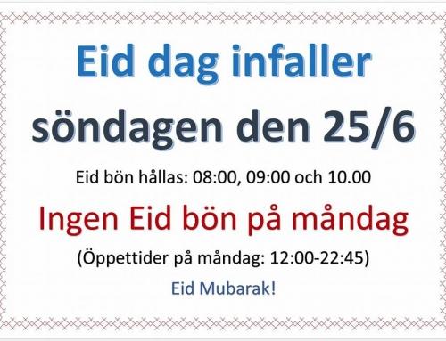 Eid Alfitr infaller 25:e juni 2017